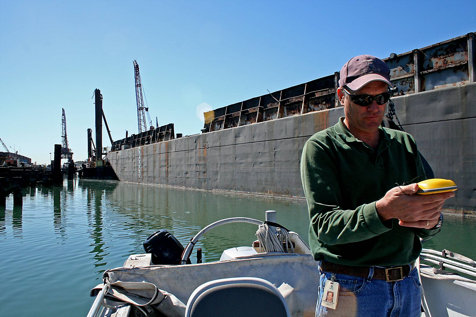 Andrew Lincoff was a part of the EPA subcontracted team that recently collected mussel and sediment samples from the Lauritzen Canal. (Photo by Leah Bartos)