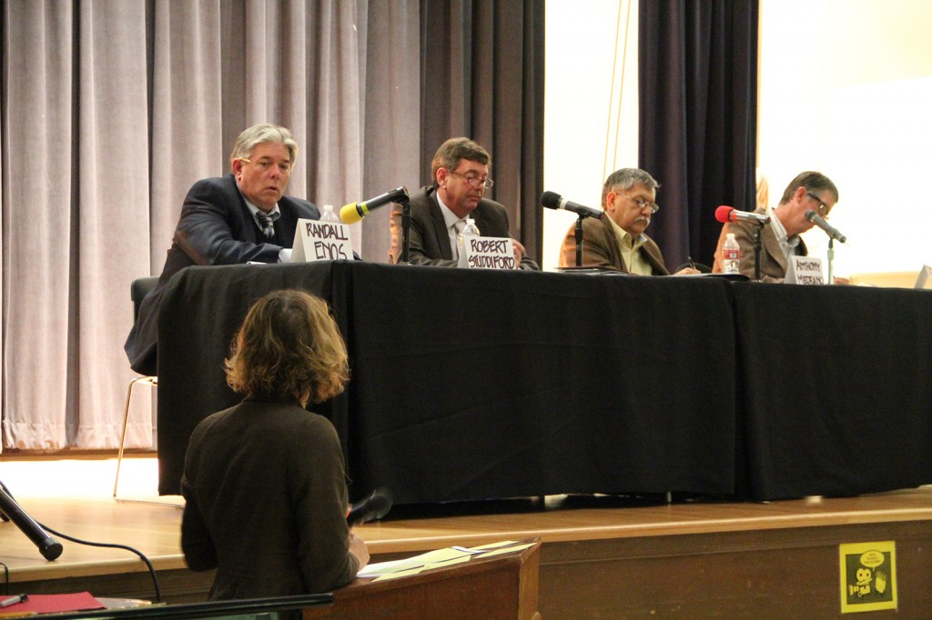 Robert Studdiford, Randy Enos, Todd Groves and incumbent Antonio Medrano speak about about education issues facing the West Contra Costa Unified School District at the school board forum held at Harding Elementary School on Monday Sept. 24, 2012.