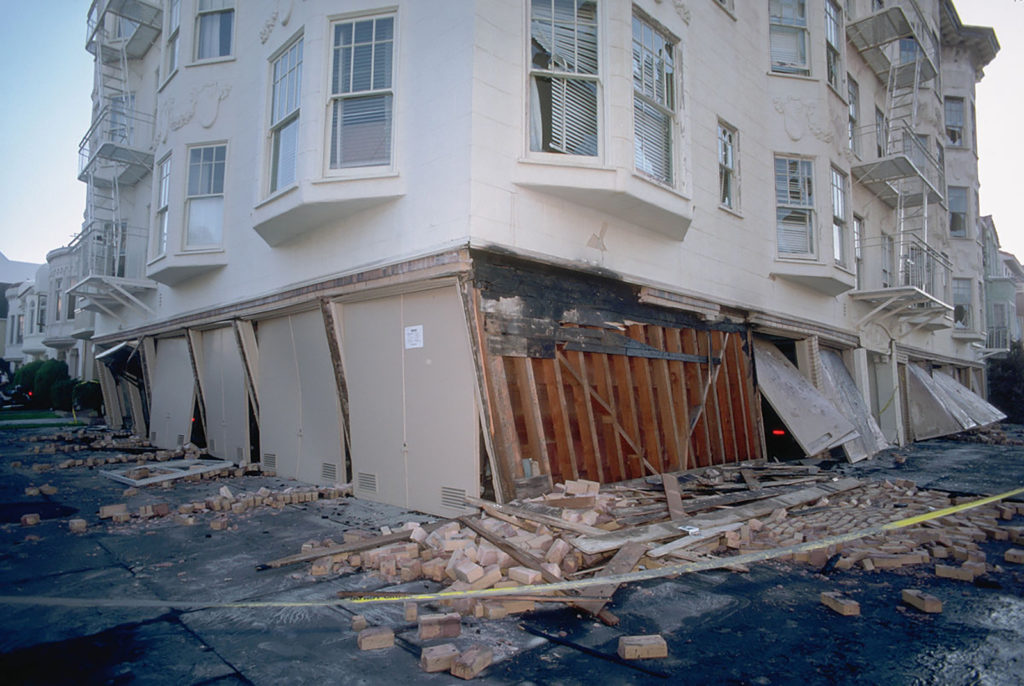 A partially collapsed soft-story building in San Francisco after the 1989 earthquake. Richmond is home to at least 280 potential structures. Photo by J.K. Nakata, United States Geological Survey