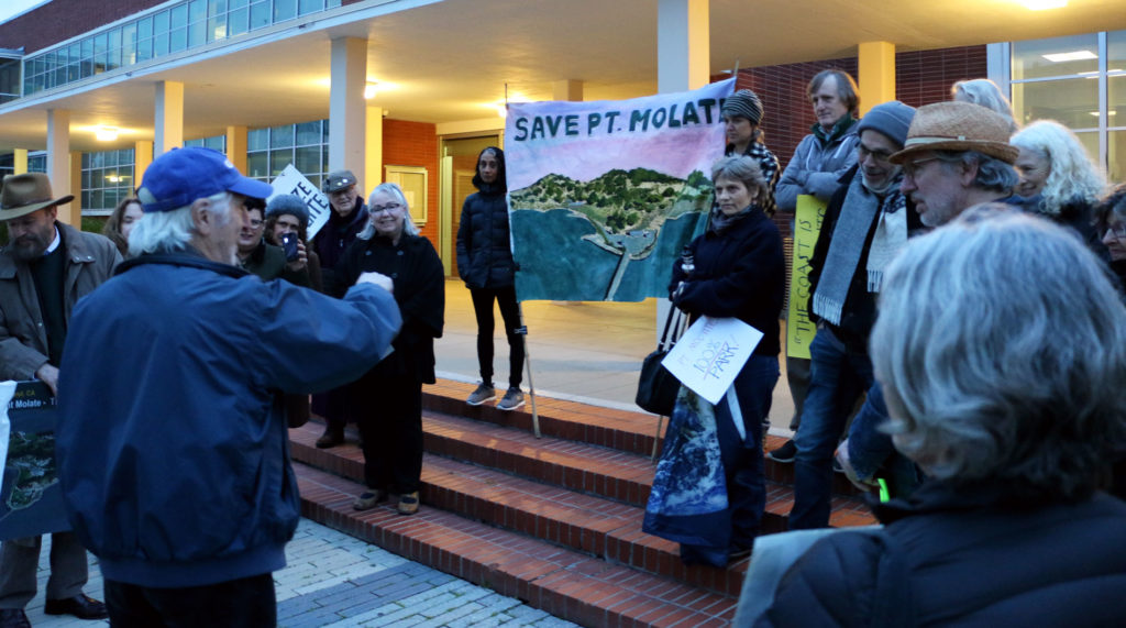Residents protest the development of Point Molate outside the Richmond city council chambers