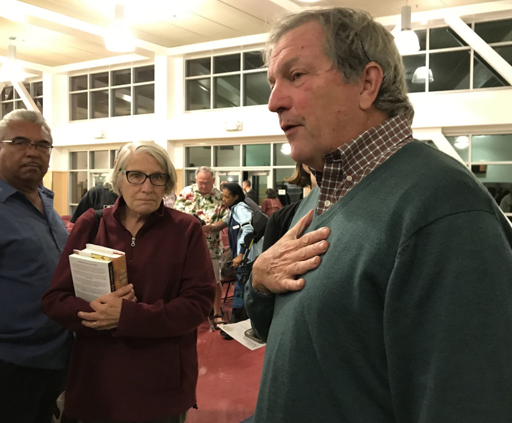 Congressman Mark DeSaulnier addresses residents during the Town Hall meeting